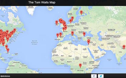 La mappa che segnala tutte le città delle canzoni di Tom Waits