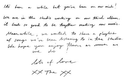 Gli xx sono in studio e nella loro playlist è emerso un misterioso brano senza crediti