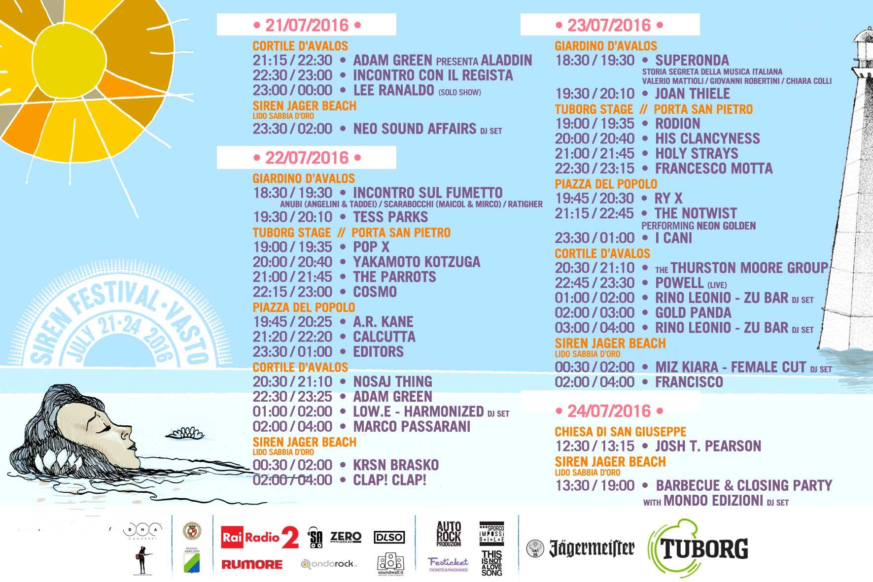 PROGRAMMA-SIREN FESTIVAL 2016